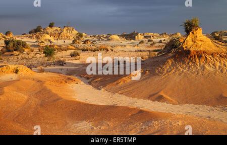 Pinnacles at Sunset, Mungo National Park, Australia - Stock Photo
