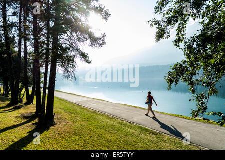 View over Lake St. Moritz, St. Moritz, Upper Engadin, Canton of Graunbuenden, Switzerland - Stock Photo