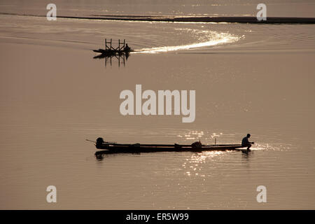 Fishing boats on the river Mekong, Vientiane, capital of Laos, Asia - Stock Photo