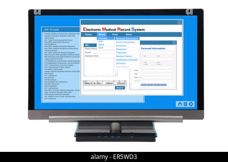 Electronic medical record show on computer monitor on white background. - Stock Photo
