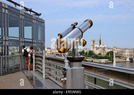 Notre Dame, View from Institut du monde arabe, Paris, France, Europe - Stock Photo