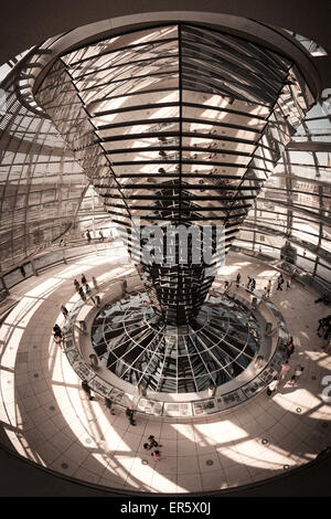 Interior view of the Reichstag building, cupola by Sir Norman Forster, Berlin - Stock Photo