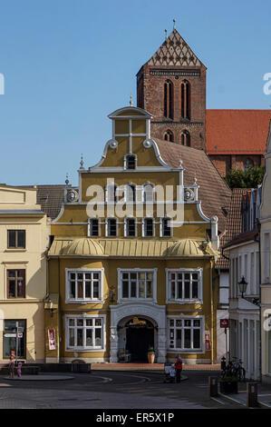 Old city center of Wismar with Nikolai church, Wismar, Mecklenburg Vorpommern, Germany - Stock Photo