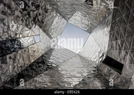 Mirror composition at Forum Building by Jacques Herzog and Pierre de Meuron, Museu Blau de les Ciencies Naturals, - Stock Photo