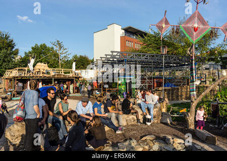 Beach Bar and flea market, Katermarkt, Friedrichshain, Berlin, Germany - Stock Photo