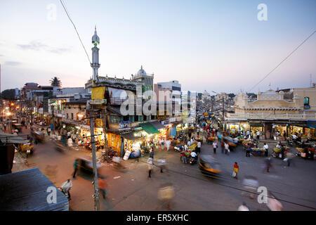 Old town with mosque and Devaraja Market, Mysore, Karnataka, India Stock Photo