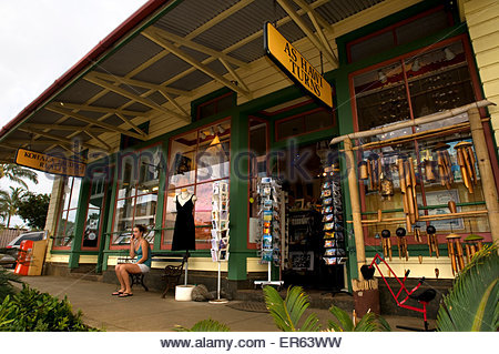 Hawi is the most northern town. Wooden houses painted in bold colors transform you into an atmosphere of the seventies, - Stock Photo