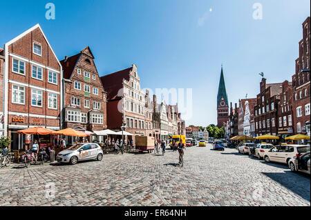 Am Sande square, Lueneburg, Lower Saxony, Germany - Stock Photo