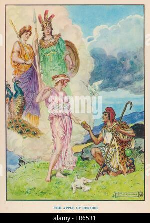 The Judgement of Paris : Paris, Prince of Troy, must award the Apple of Discord to Hera, Aphrodite or Athena : all - Stock Photo
