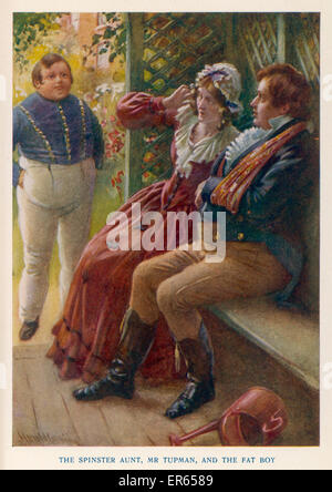 Illustration to The Pickwick Papers by Charles Dickens. Mr. Tupman and the Spinster Aunt are startled by the appearance - Stock Photo