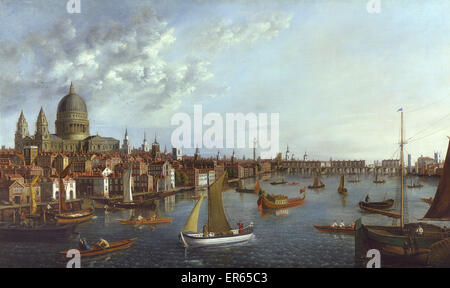 A View of the Thames looking towards London Bridge with the Royal Barge, by William James (fl. 1730-1780). - Stock Photo
