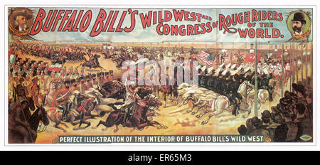 A 'perfect illustration' of Buffalo Bill's Wild West Show and Congress of Rough Riders of the World. 1890s - Stock Photo
