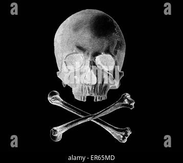The Jolly Roger is the name given to any of various flags flown to identify a ship's crew as pirates. The flag most - Stock Photo