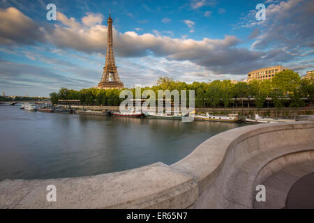 Setting sunlight on Eiffel Tower and River Seine, Paris, France - Stock Photo