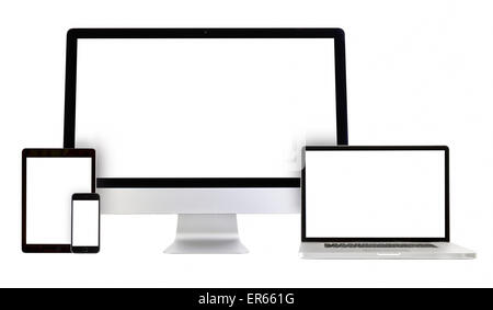 modern monitor, computer, laptop, phone, tablet on a white background - Stock Photo