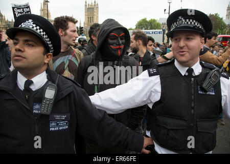 London, UK. Wednesday 27th May 2015. Students demonstrate in Westminster against Tory Party cuts. The protest was - Stock Photo