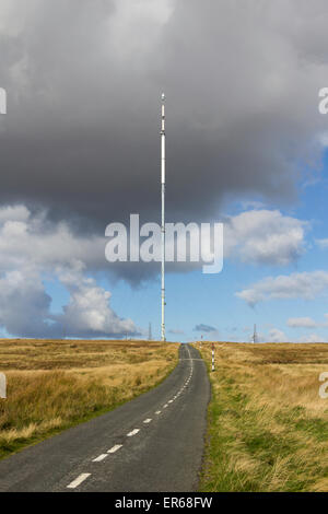 Winter Hill TV transmitter mast on the top of Rivington Moor, Bolton, Lancashire. - Stock Photo