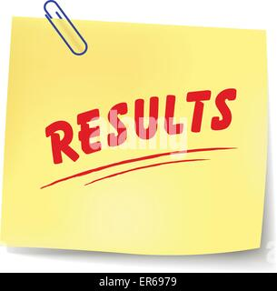 Vector illustration of results yellow note on white background - Stock Photo