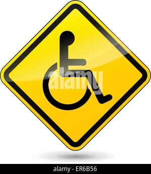 Vector illustration of disabled yellow sign on white background - Stock Photo