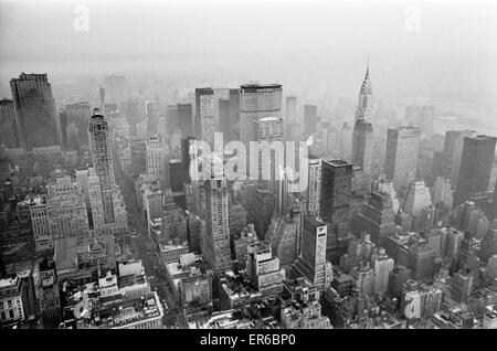 New York skyline seen from the top of the Empire State Building 25th January 1970 - Stock Photo