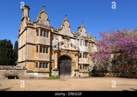 Gatehouse of Stanway House, Stanway, Cotswolds, Gloucestershire, England, United Kingdom, Europe - Stock Photo