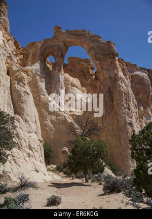 Grosvenor Arch, Grand Staircase Escalante National Monument, Utah, United States located south of Kodachrome Basin - Stock Photo