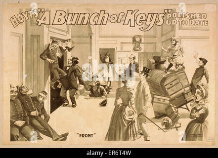 Hoyt's A bunch of keys polished up to date. Date c1899. - Stock Photo