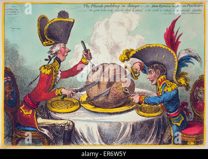 The Plumb-pudding in danger, or, State epicures taking un petit souper  William Pitt, wearing a regimental uniform - Stock Photo