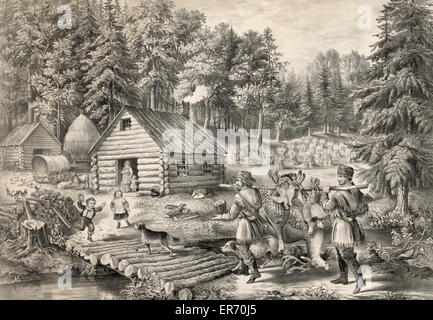 The pioneer's home: on the western frontier. Date c1867. Published by Currier & Ives. The pioneer's home: on - Stock Photo