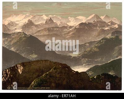 Bernese Alps, from Pilatus, Bernese Oberland, Switzerland. Date between ca. 1890 and ca. 1900. - Stock Photo