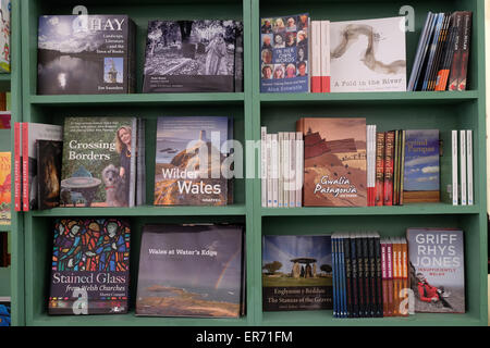 Hay Festival, Powys, Wales - May 2015  - A selection of books related to Wales on sale in the Hay Festival bookshop. - Stock Photo