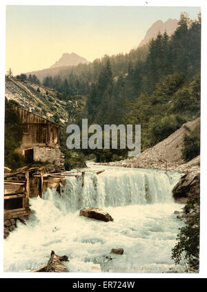 Lower Engadine, Tarasp, waterfall, Grisons, Switzerland. Date between ca. 1890 and ca. 1900. - Stock Photo