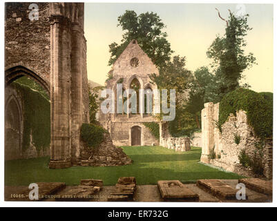 Valle Crucis Abbey, interior looking west, Llangollen, Wales. Date between ca. 1890 and ca. 1900. - Stock Photo