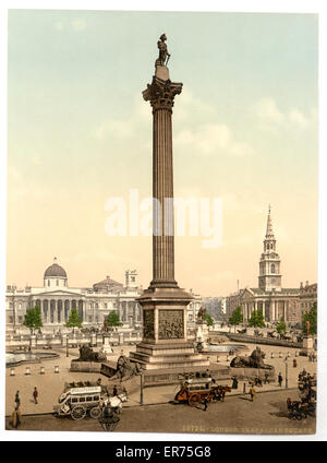 Trafalgar Square and National Gallery, London, England. Date between ca. 1890 and ca. 1900. - Stock Photo