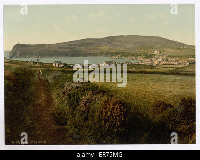 Port Erin, general view, Isle of Man, England. Date between ca. 1890 and ca. 1900. - Stock Photo