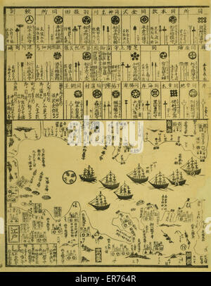 United States of North America: Perry arrives in Uraga, Soshu Province. Japanese diptych print shows Perry's steamship - Stock Photo