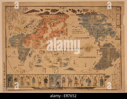 People of many nations. Japanese diptych print shows a map of the world with inset images of foreign people. Date - Stock Photo