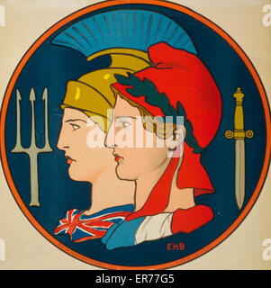 Emblem of France and Great Britain. Poster showing personifications of France and Great Britain, depicted in profile - Stock Photo