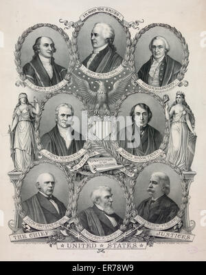 The Chief Justices of the United States. Head-and-shoulders portraits in ovals of the Chief Justices of the Supreme - Stock Photo