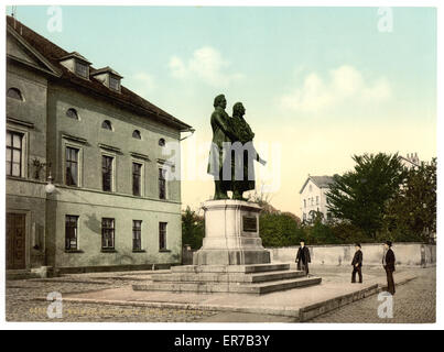 The Schiller and Goethe Monument, Weimar, Thuringia, Germany. Date between ca. 1890 and ca. 1900. - Stock Photo