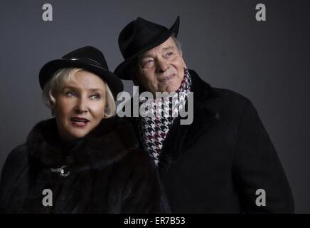 Feb. 19, 2014 - Studio portrait of a middle-aged couples, dressed in a fur coat (Credit Image: © Igor Golovniov/ZUMA - Stock Photo