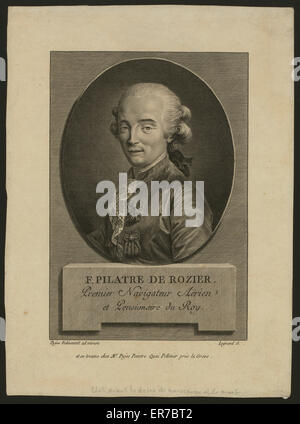 F. Pilatre de Rozier. Premier navigateur aerien et pensionaire du roy. Oval head-and-shoulders portrait of French - Stock Photo