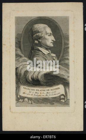 Francois Pilatre de Rozier, ne e Metz le 30. mars 1756, mort pres de Boulogne sur Mer le 15. juin 1785. Oval head - Stock Photo