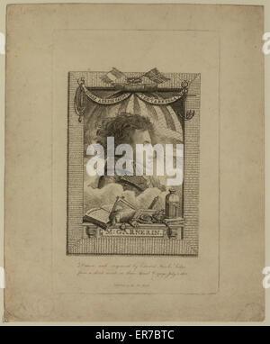M. Garnerin. Head-and-shoulders profile portrait of French balloonist and parachutist, AJ Garnerin, with banner - Stock Photo