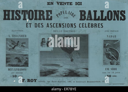Histoire populaire des ballons et des ascensions celebres  Advertisement for a book by A. Sircos on the history - Stock Photo