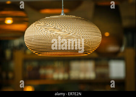 Hanging Lamp Shade in Restaurant, Trinity Shopping Center Leeds - Stock Photo