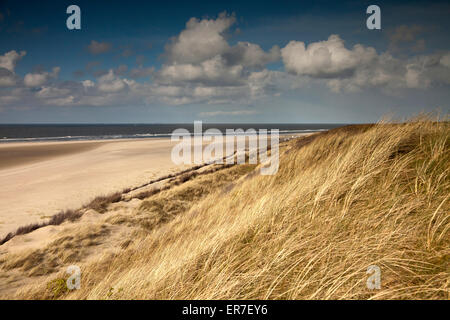 sand dunes and the main beach, East Frisian Island Spiekeroog, Lower Saxony, Germany - Stock Photo