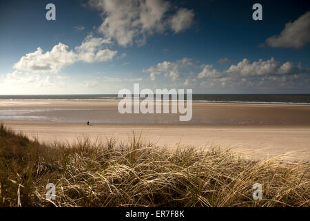 sand bank  and the main beach, East Frisian Island Spiekeroog, Lower Saxony, Germany - Stock Photo