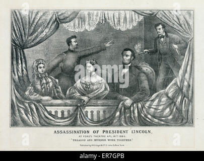 Assassination of President Lincoln, at Ford's Theatre, Apl. 14th 1865. Date between 1865 and 1870?. - Stock Photo