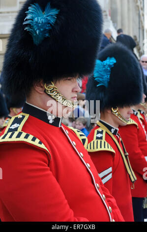 The Queen's Guards in their red uniform and black bear fur hats, London, England, United Kingdom. - Stock Photo